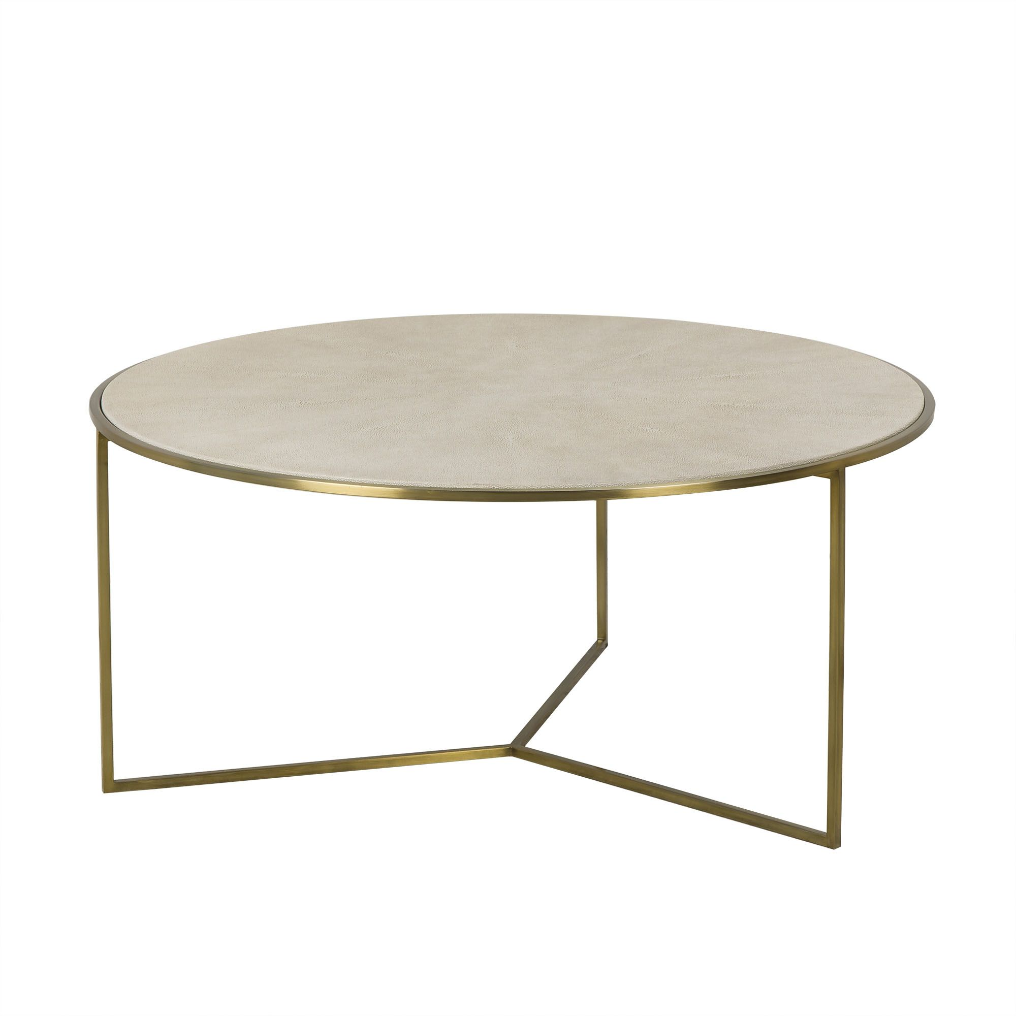 Living room gwen collection gwen round coffee table transitional round coffee table featuring a linen colored faux shagreen in a sunburst pattern with