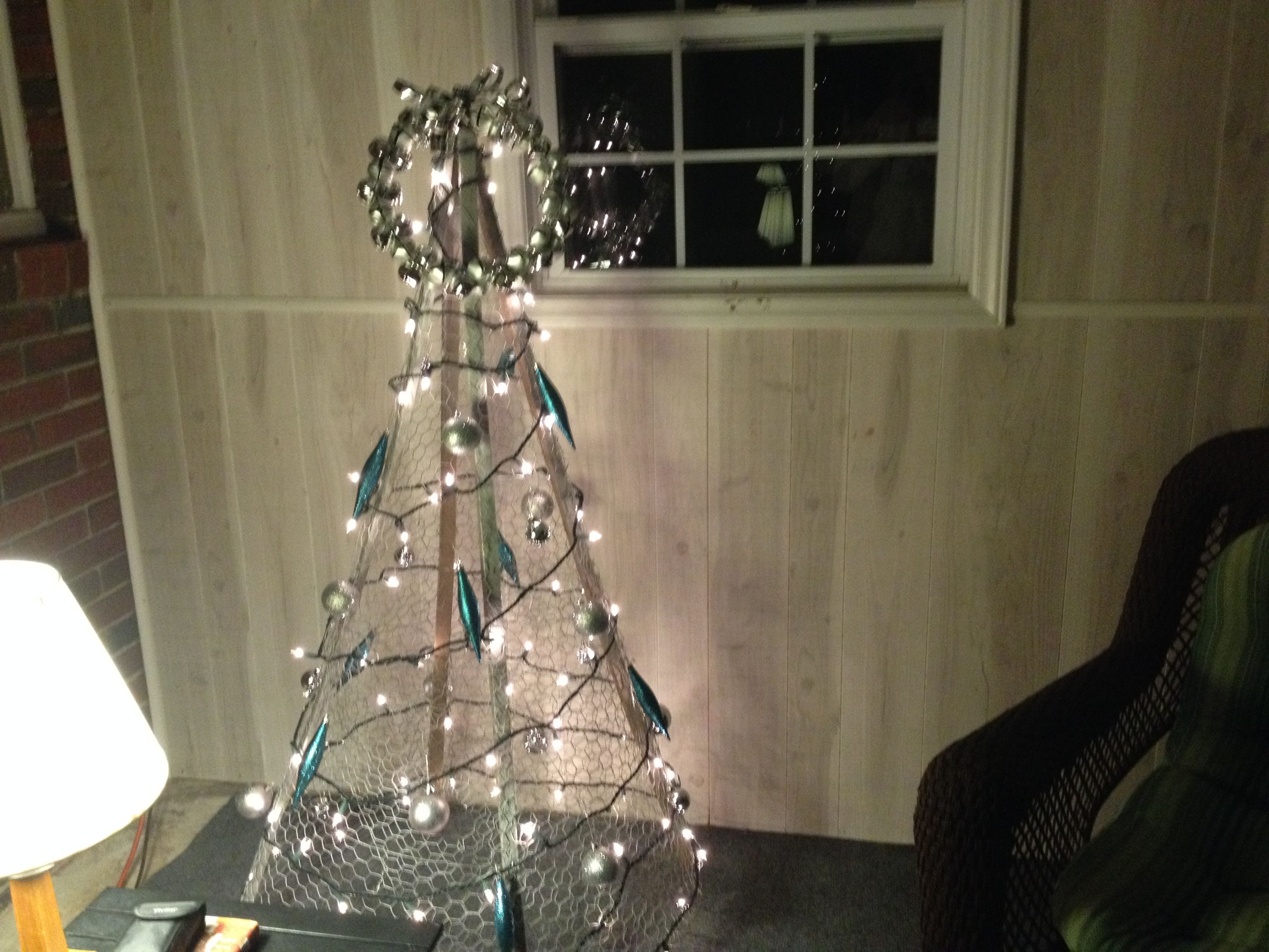 Wire Christmas Trees Part - 34: Chicken Wire And Tobacco Stick Tree