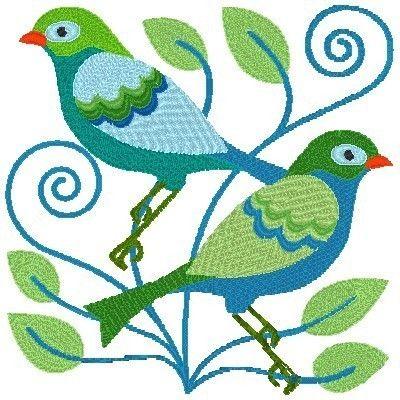 Little Jacobean Birds Machine Embroidery By Cjcreativedesigns