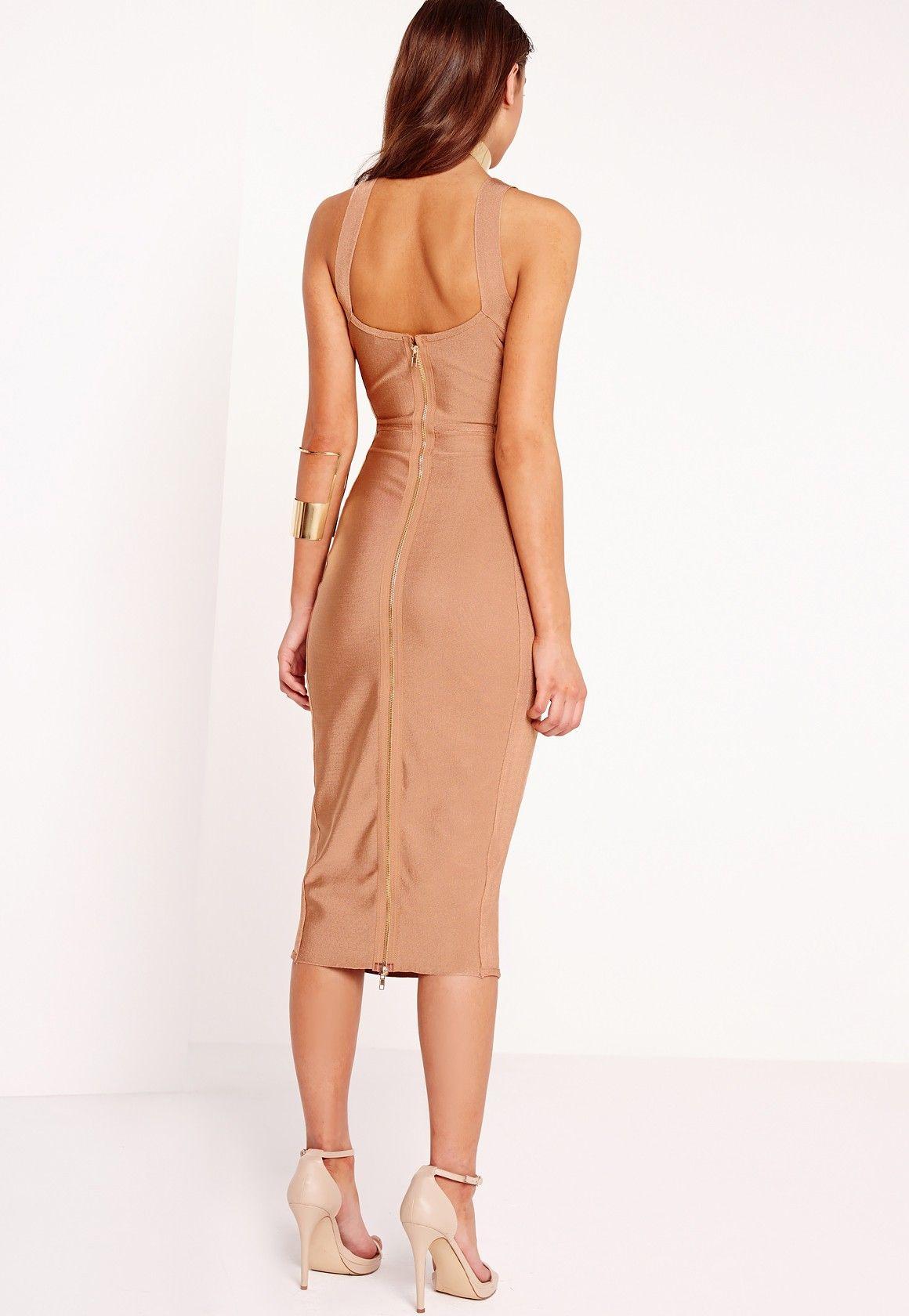 Missguided Peace Love Zip Back Bandage Midi Dress Tan Women Dress Online Bandage Midi Dress Womens Dresses [ 1680 x 1160 Pixel ]