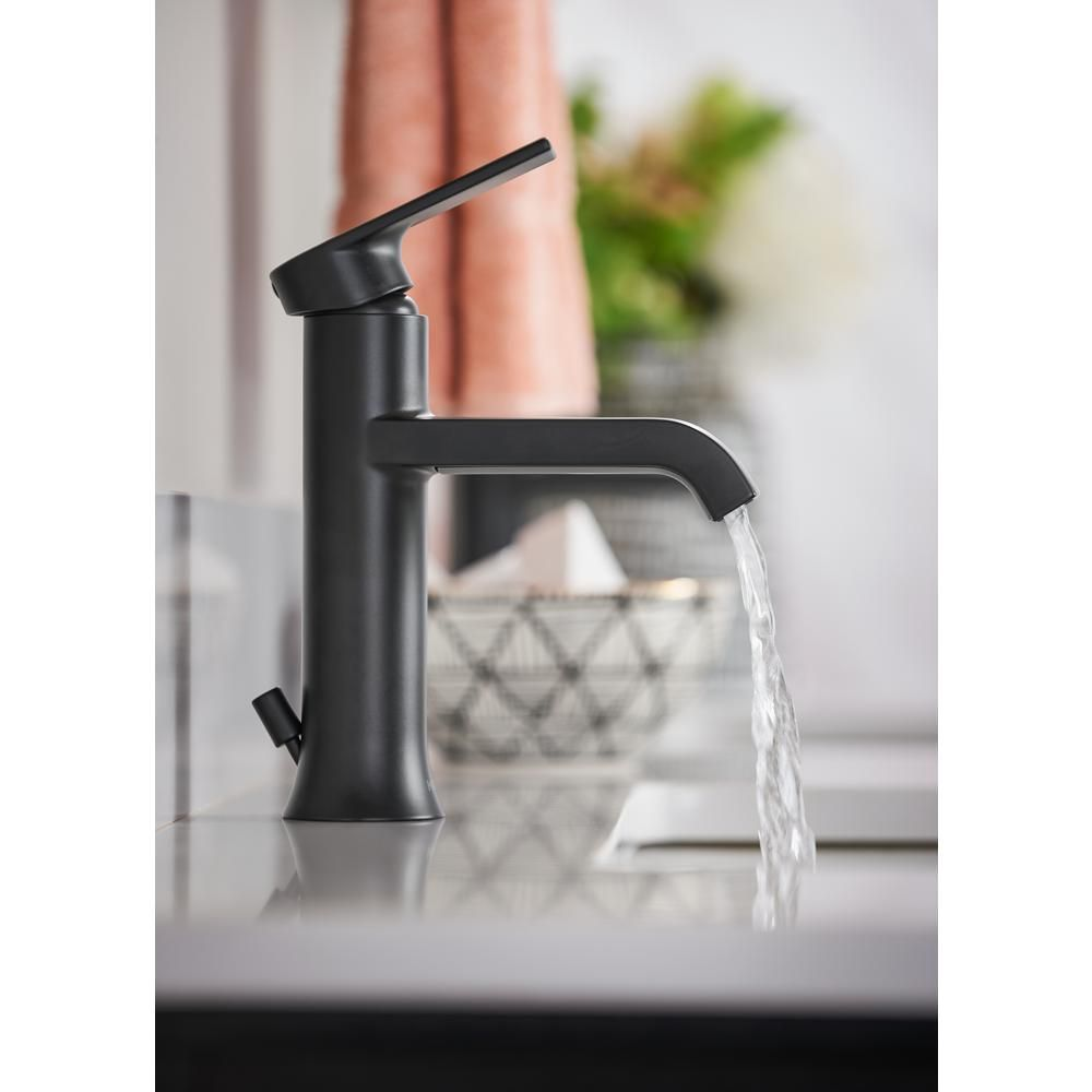 Moen Genta Single Hole Single Handle Bathroom Faucet In Matte