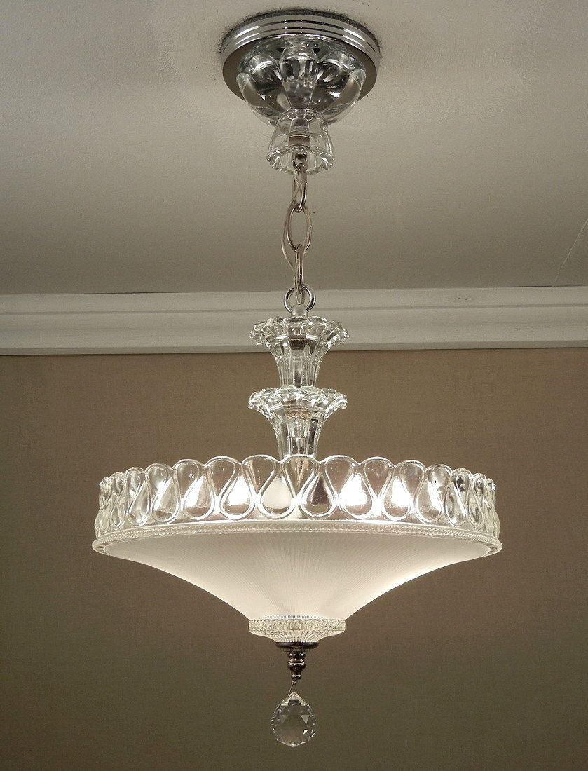 Antique 1940s Vintage American Art Deco White Pressed Glass Chrome Ceiling Light Fixture Chandelier Rewired