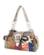 Jacquard Dark Fabric & Faux Leather Patchwork Handbag ~ Wheat $36.98