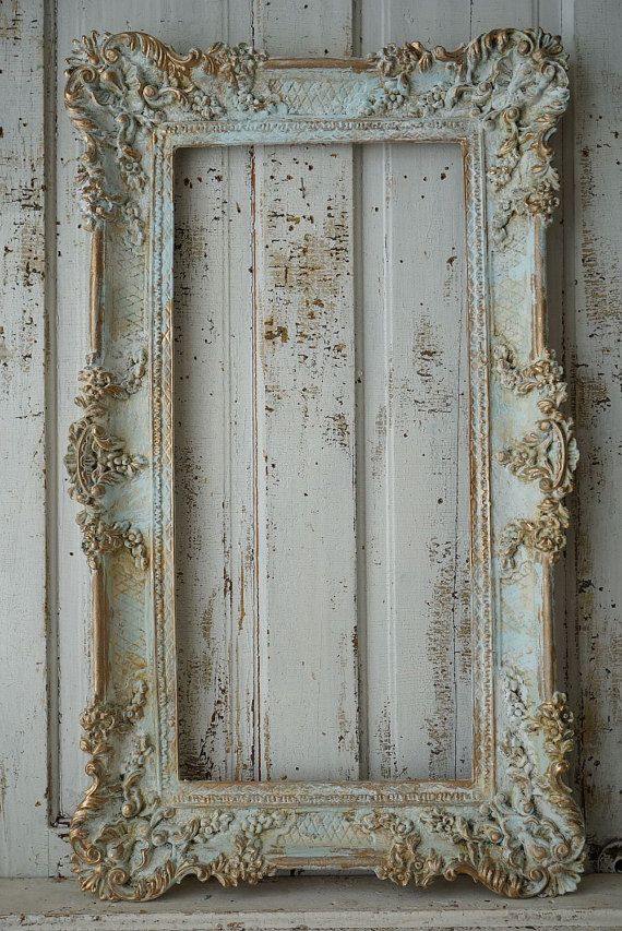 e788b39cfac2 Ornate picture frame wall hanging shabby cottage chic distressed faded  blues white French European inspired home decor anita spero design I love