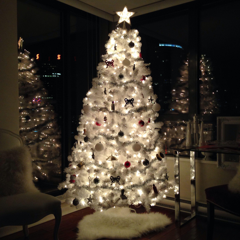 White Christmas Tree At Night Christmas Tree Christmas Holidays Beautiful Christmas Trees
