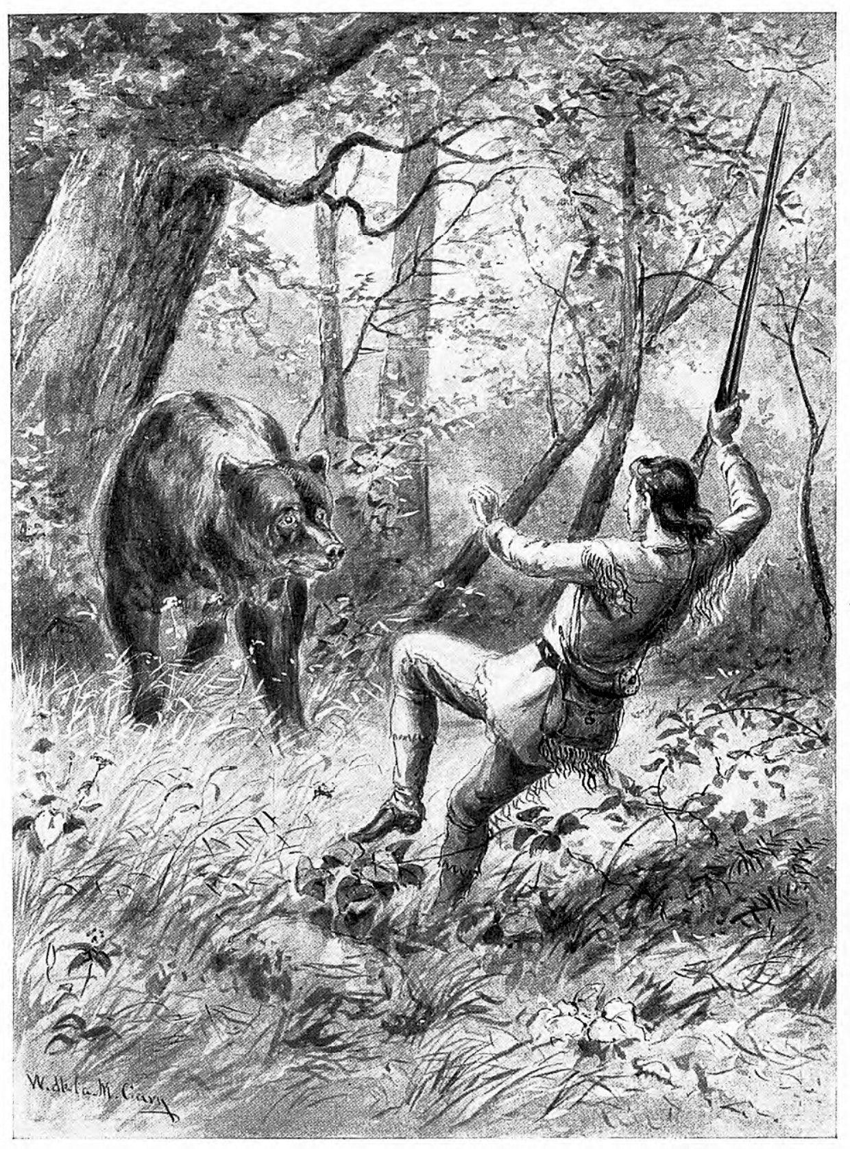 Animal wild bear attacking a man hunter in woods