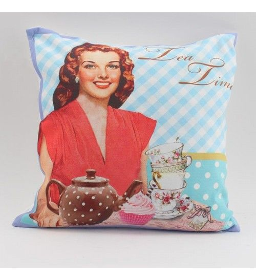 FABRIC CUSHION IN LT BLUE COLOR 'VINTAGE-TEA TIME' W_FILLING 40X40Χ3 (100% SYNTH_SUEDE)