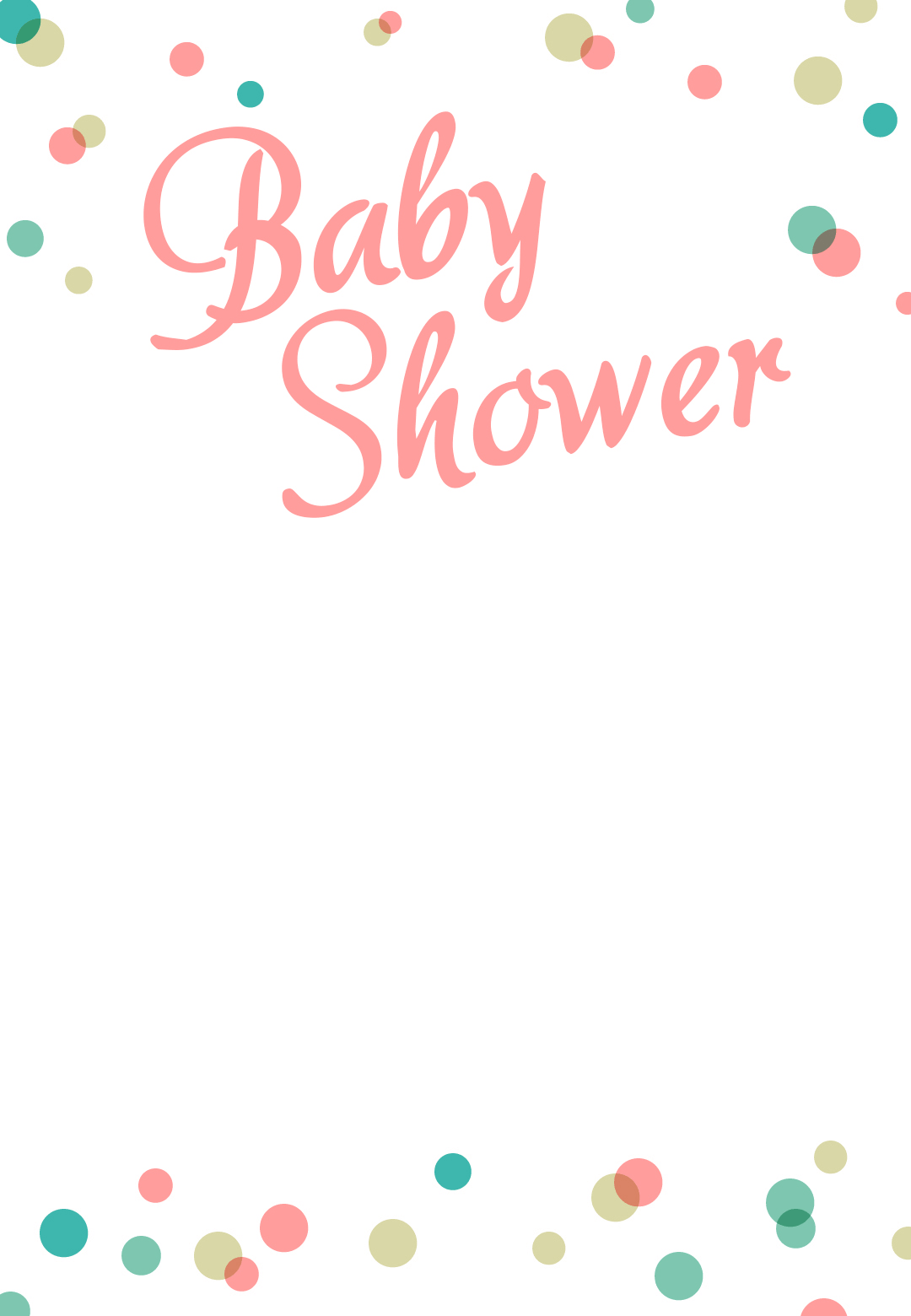 picture relating to Free Printable Blank Baby Shower Invitations referred to as Dancing Dots Borders - Free of charge Printable Kid Shower Invitation