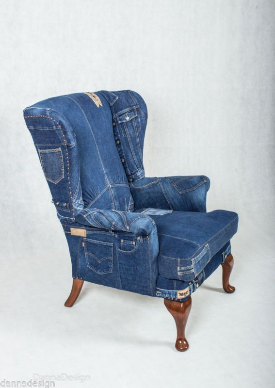 Attractive Denim Jeans Wingback Armchair Parker Knoll Sofa Chair Patchwork Furniture
