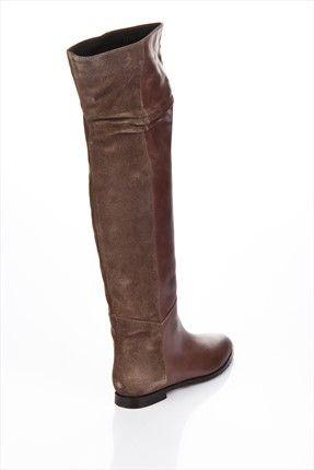 Hakiki Deri Taupe Bayan Cizme 13kkb12145 Elle Shoes Trendyol Bot Cizmeler Moda