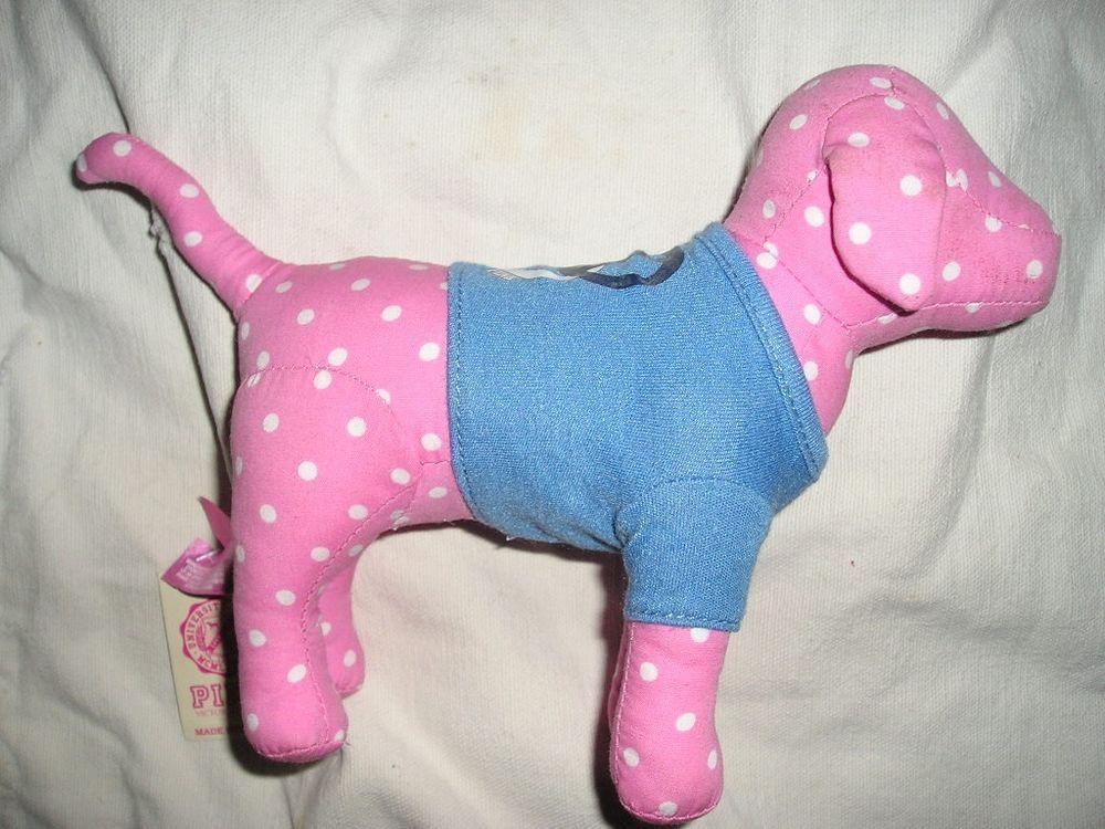 VICTORIA'S SECRET PINK Polka Dot Blue T-Shirt Heart Peace Sign DOG  #VictoriasSecret