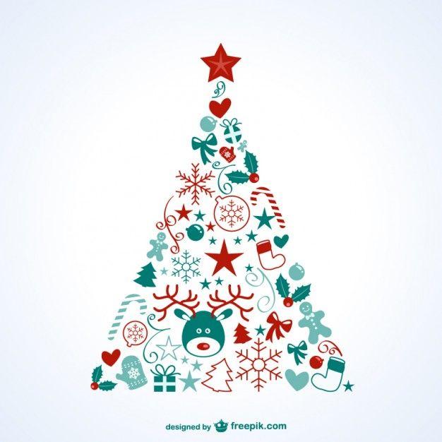 Árbol de Navidad con iconos Vector Gratis | Navidad | Pinterest ...