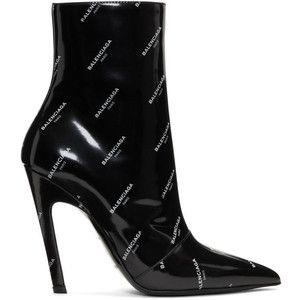 Black Boots Over All Slash Heel Patent Balenciaga Logo n80wkPXO