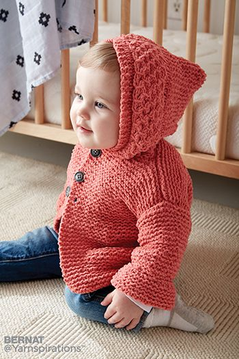 71ce27e8973d Free Pattern!  In the Details  Hoodie knitted in Bernat Baby Blanket ...