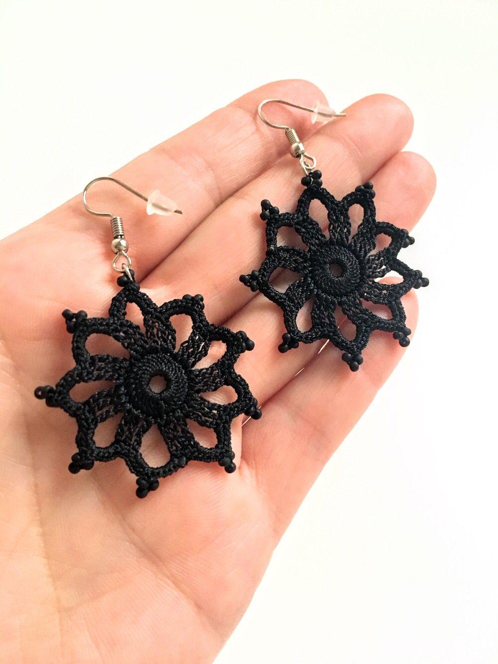 Black Floral Crochet Earrings / Lightweight Black Flower