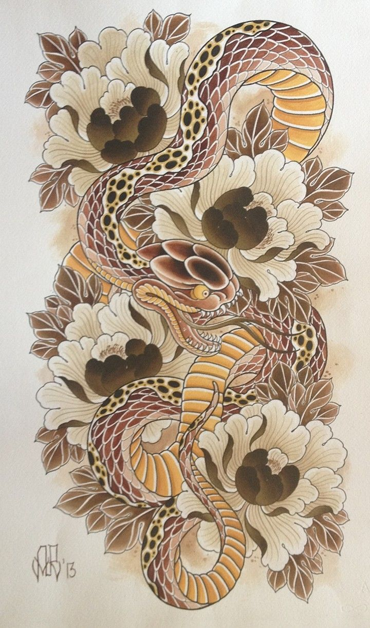 snake/peony Japanese snake tattoo, Japanese tattoo