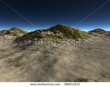 the rocky terrain covered with sand in dark time and the sky