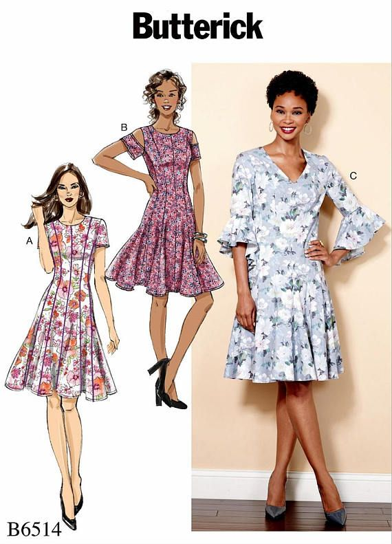Flared Dress Pattern Petite Dress Pattern Drop Waist Flared | Adult ...