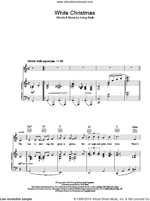 White Christmas Irving Berling.Berlin White Christmas Arr Christopher Hussey Sheet Music For
