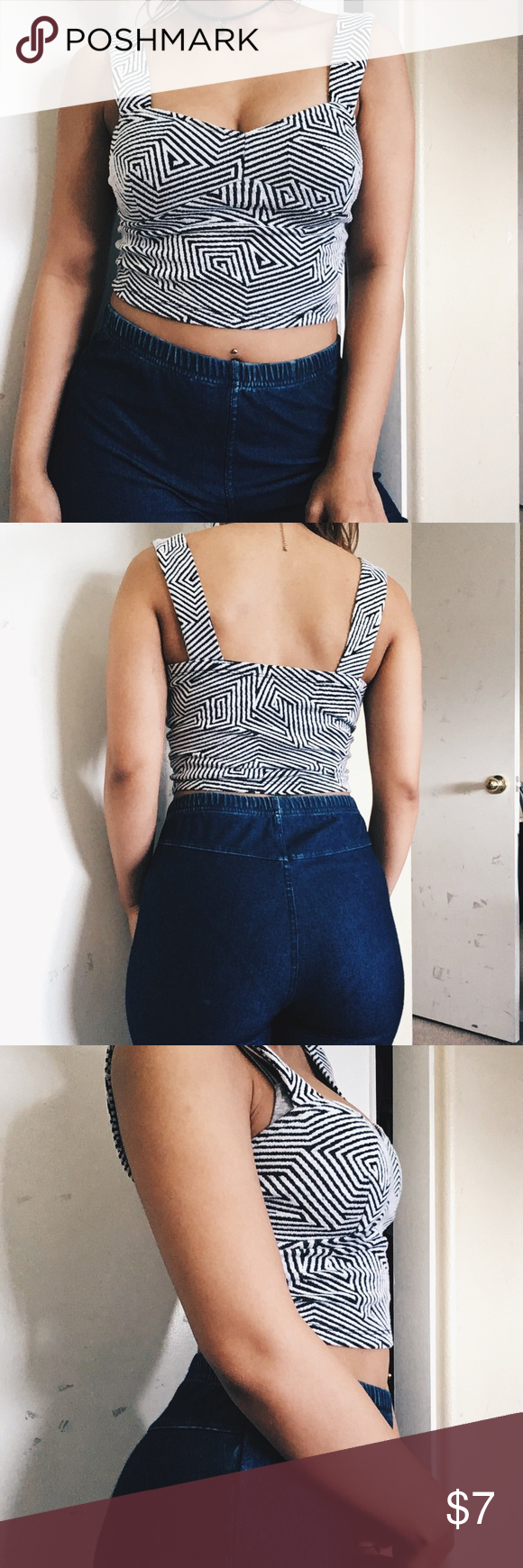 Small | Crop Tank Black and white pattern and cropped tank and size small, perfect condition. Ginger G Tops Crop Tops