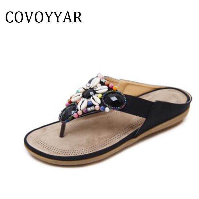 COVOYYAR 2018 Bohemian Summer Beaded Sandals Women Fashion New Mixed Color  Shell Flower Beach Woman Flip Flops Slippers WSS812. Yesterday s price  US   29.07 ... f000338918d4