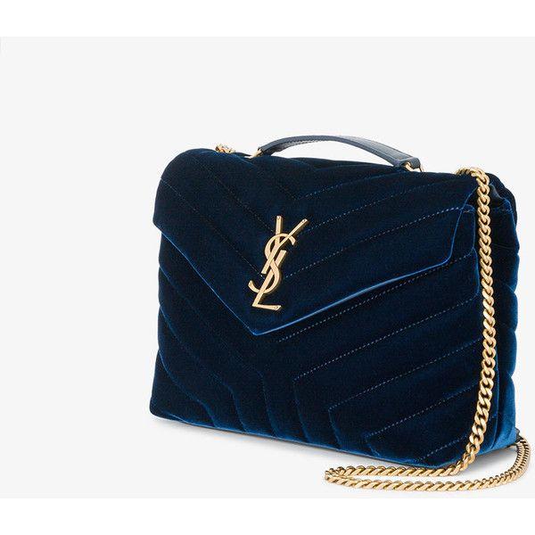 b8a57bbf63 Saint Laurent small Blue Loulou monogram velvet bag ( 1