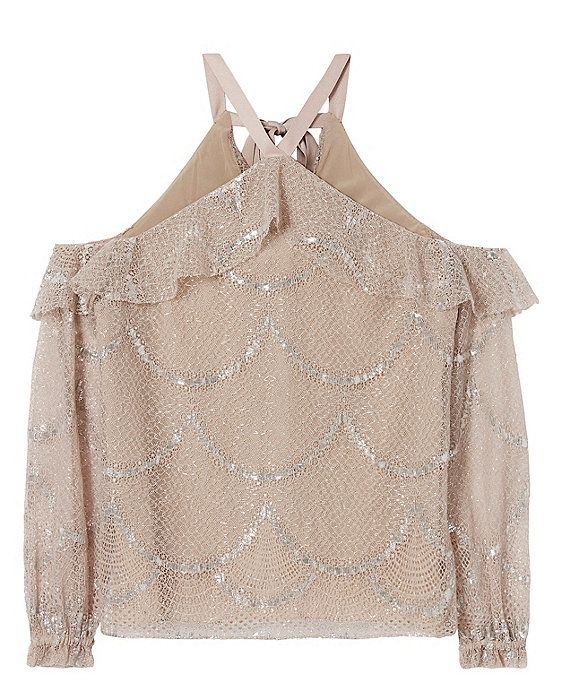 993d59bf4f930 Alexis Kylie Lace Cold Shoulder Top  A lace confection with cutouts at the  shoulders and