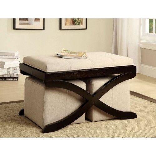 Contemporary Coffee Table With Ottomans Hand Made Square Ottoman Storage