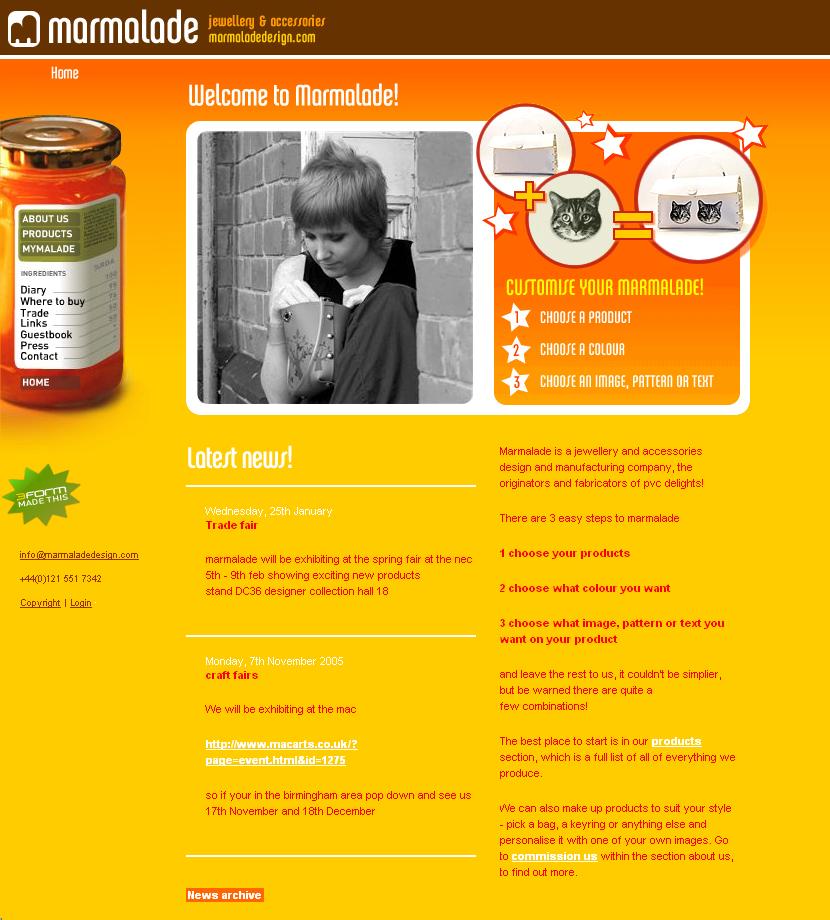 Marmalade Website In 2006 Web Design Design Museum Design
