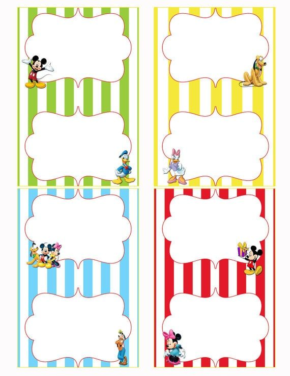 Mickey Mouse Clubhouse Birthday Party Food Labels  Asher