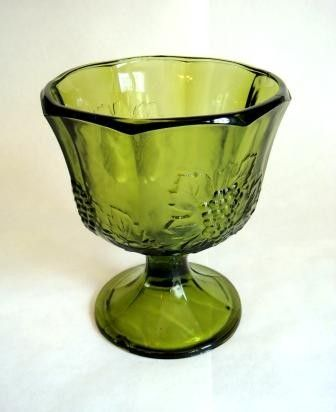 2 Vintage Grape Pattern Harvest Green Planter Vase Green Glassware Green Glass Vintage Green Glass