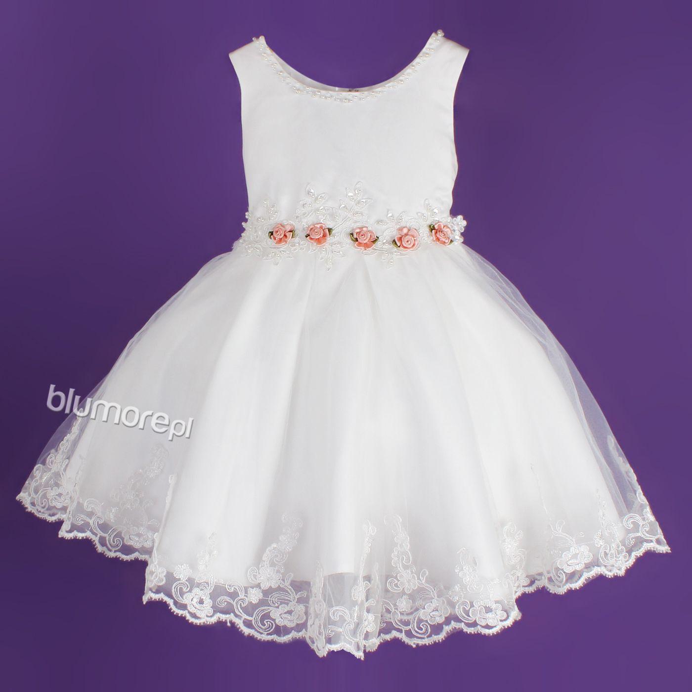 Dziewczęca sukienka na komunię 122-164 Delfina 2 biel | Vestidos de ...