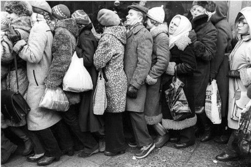 Kolejka Tlok Prl Soviet Winter Jackets Russia
