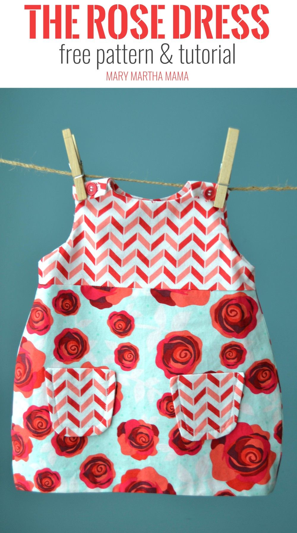 rose dress pin 0-3 mo
