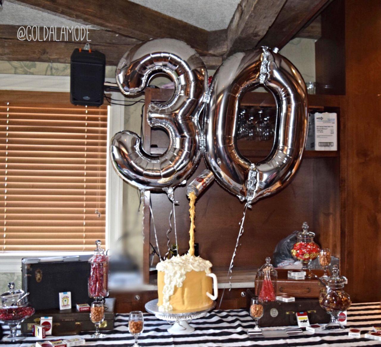 30th Surprise Party For Him Beer Mug Cake Vintage