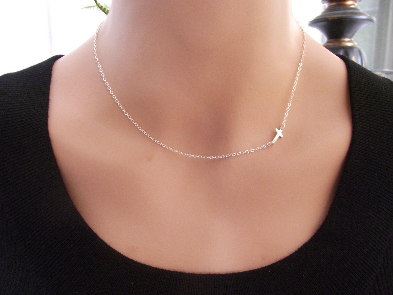 Sterling silver small sideways cross necklace sterling silver small sideways cross necklace sterling by starlingdesignshop 2600 aloadofball Gallery