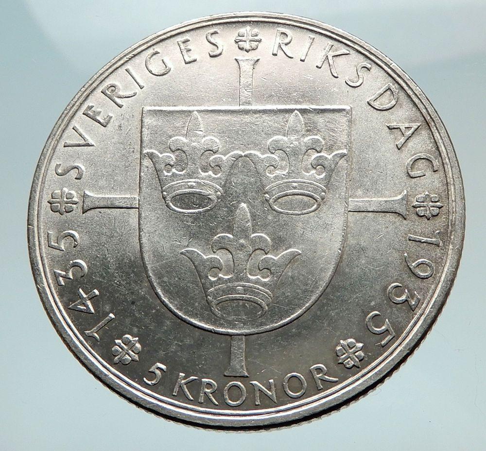 1935 Sweden W Riksdag King Gustav V Swedish Antique Silver 5