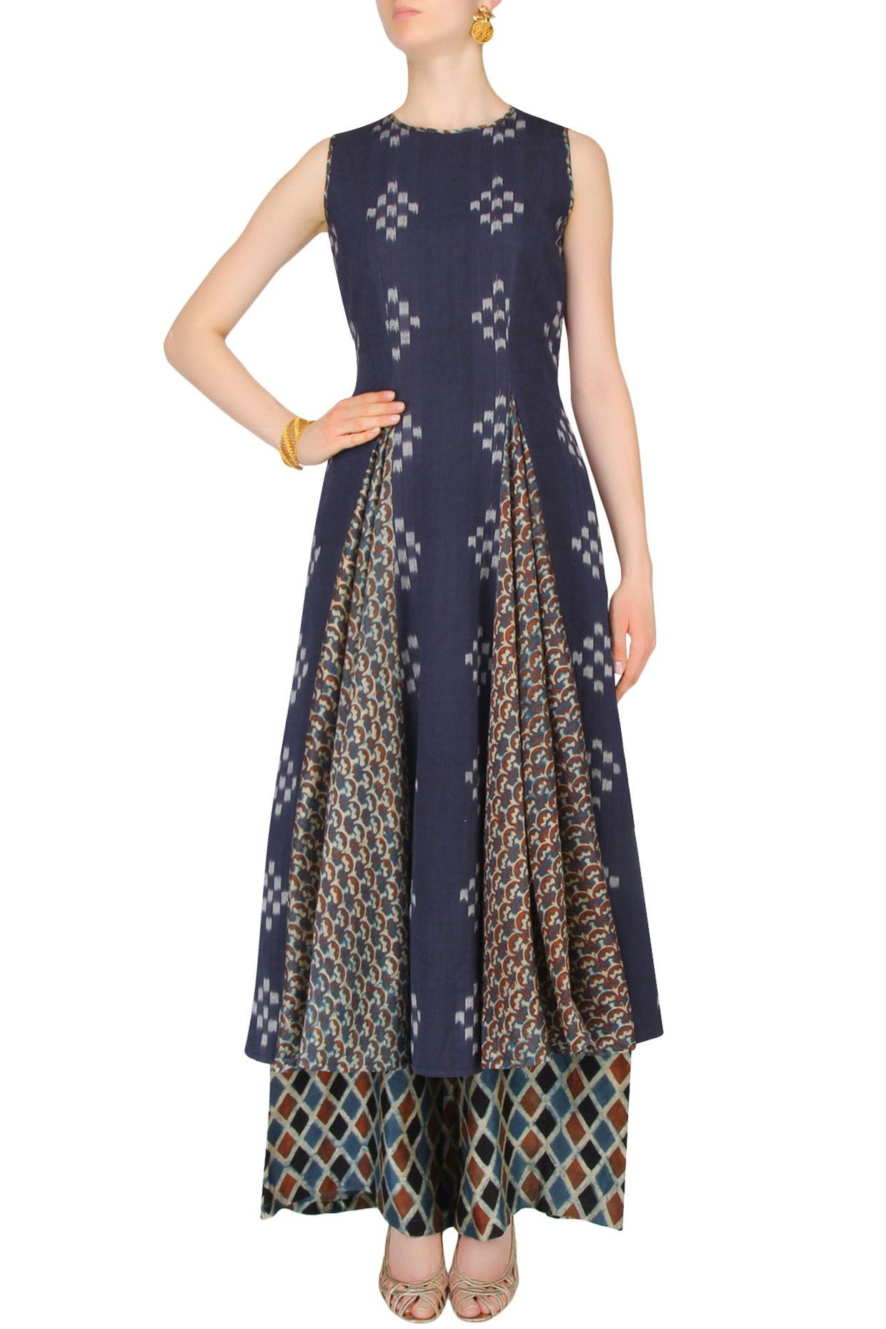 42d61a0cc954c Indigo printed tunic and chanderi palazzo pants set available only at  Pernia s Pop Up Shop.