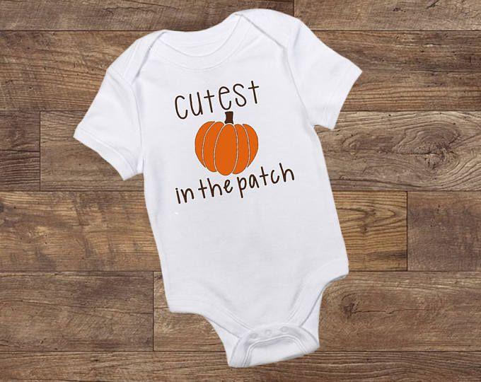 Cutest Pumpkin in the Patch Shirt Toddler Boy Fall Halloween Baby Bodysuit