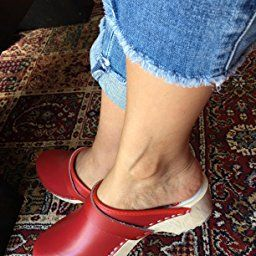 784a42ed AM-Toffeln 100 Swedish Wooden Clogs in Red leather - Size 35 ...