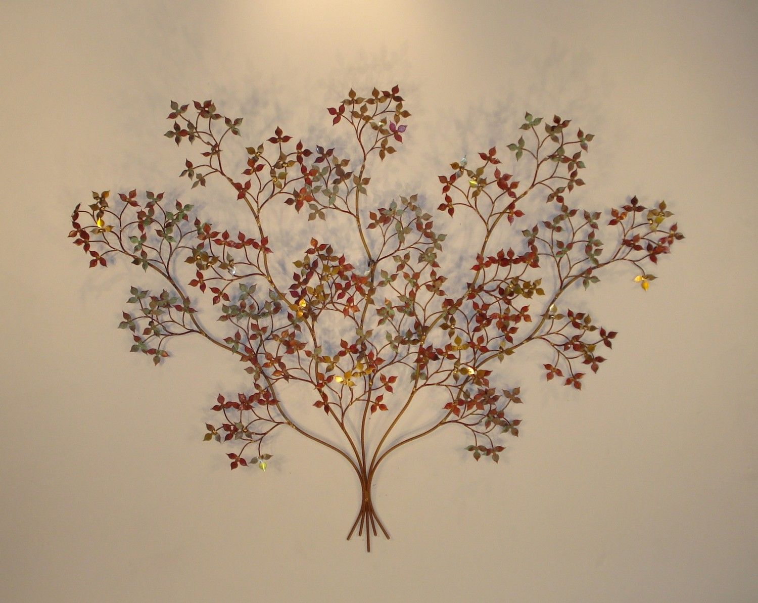 Metal Branch Wall Decor October Branch Wall Sculpture With Brass Copper Steel Leaves