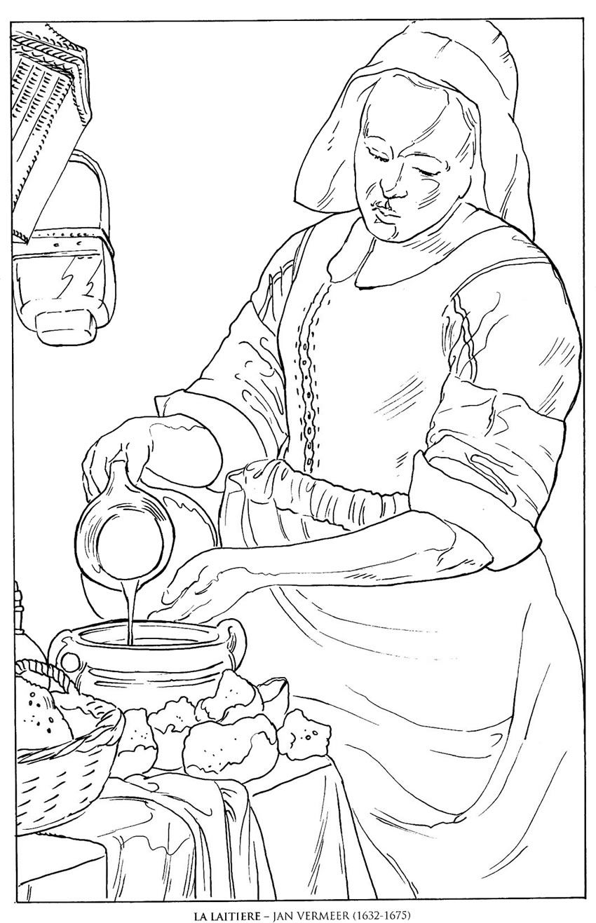 la laitiere_jan vermeer famous paintings coloring pages