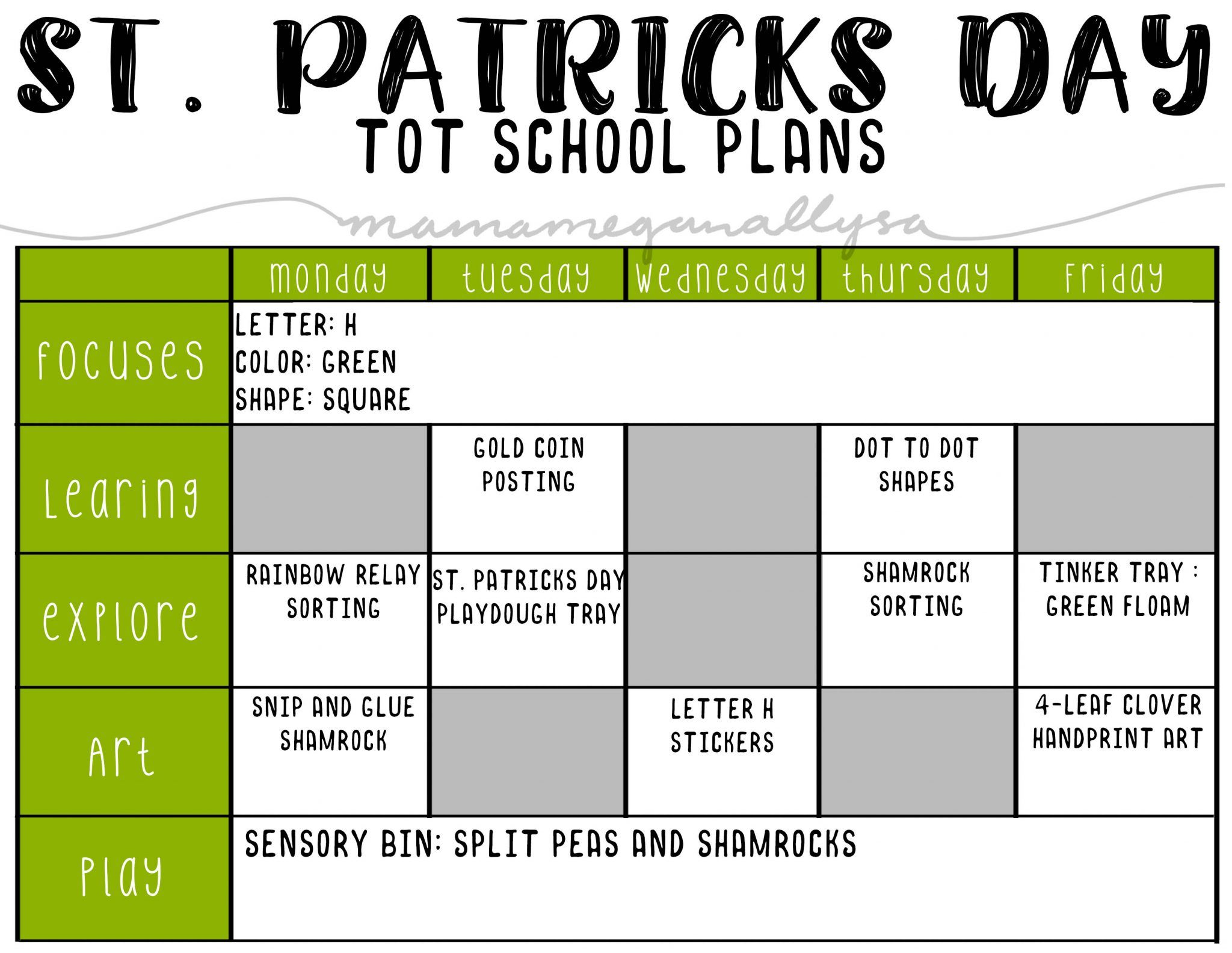 Simple March Tot School Plans For 2 5 Toddlers