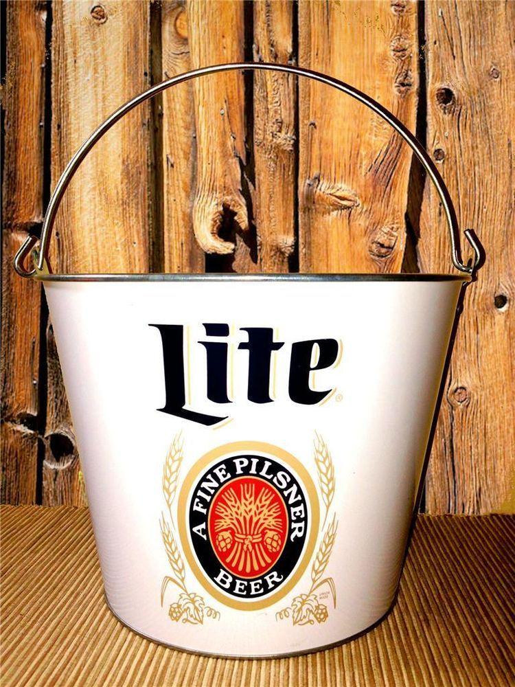 New Miller Lite Beer 5qt Heritage Ice Bucket Metal Cooler Snack Pail