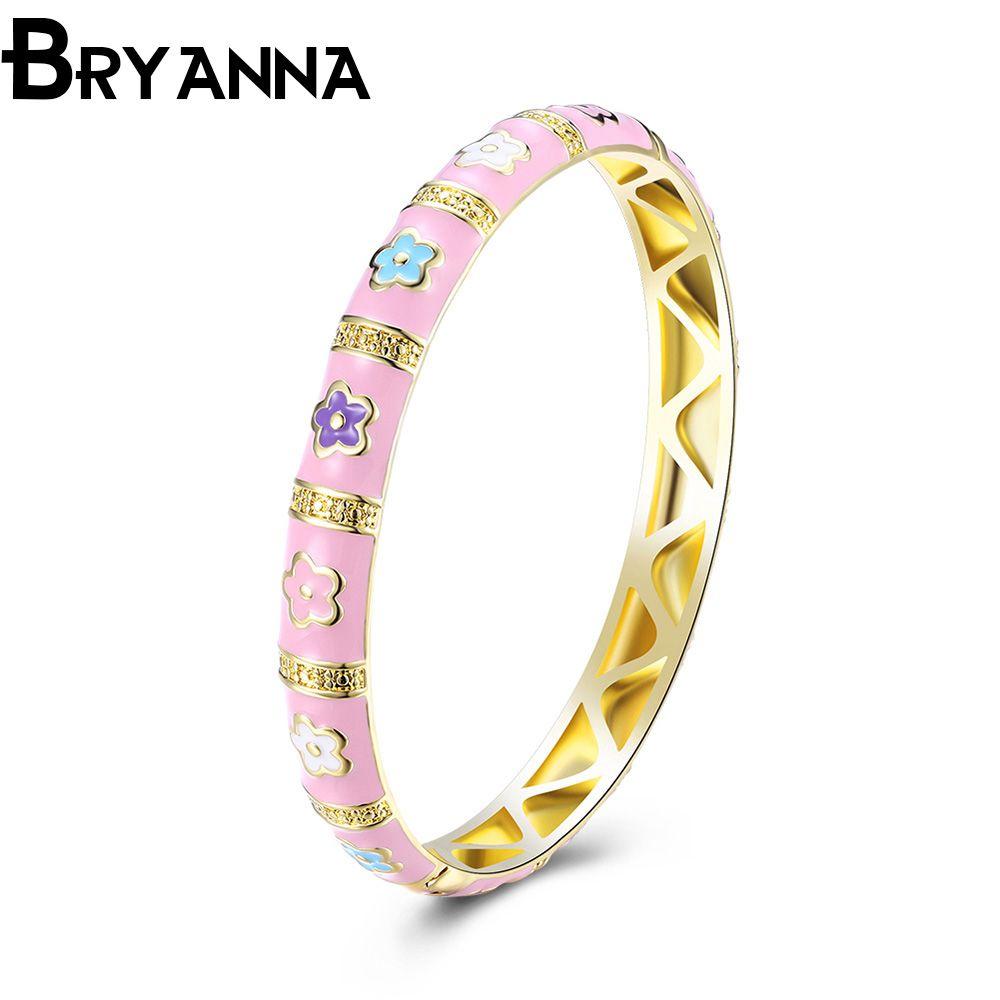 Bryanna flower design goldcolor bangle women bijoux new fashion