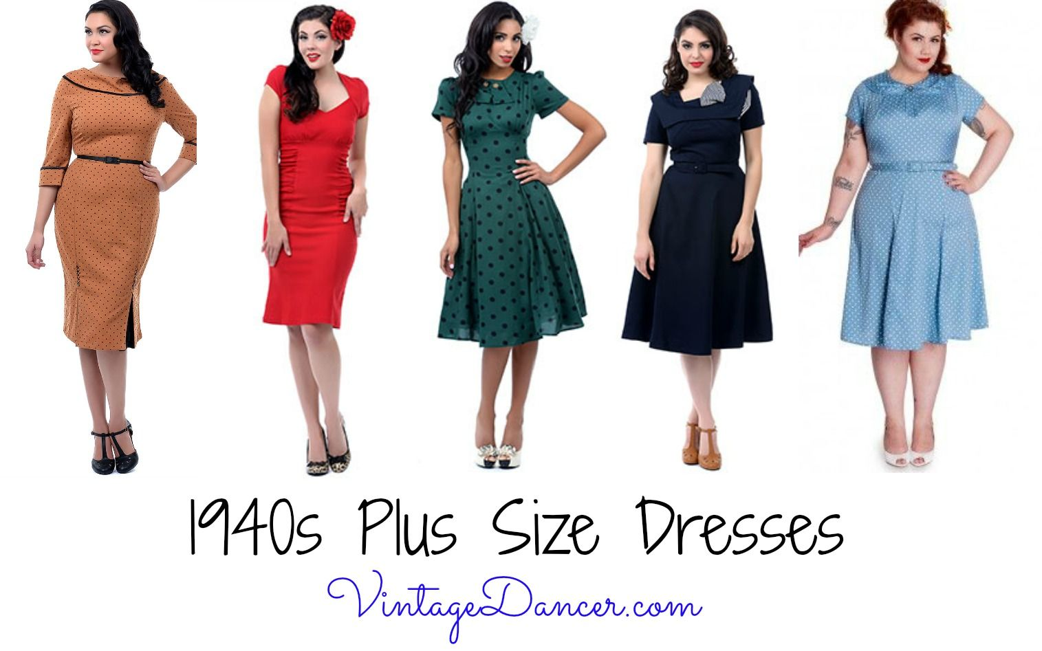 8fc72cc2897 Shop for vintage inspired 1940 s plus size dresses. From classic a-lines  pinup dress styles you will do 1940 s fashion justice in these dresses.
