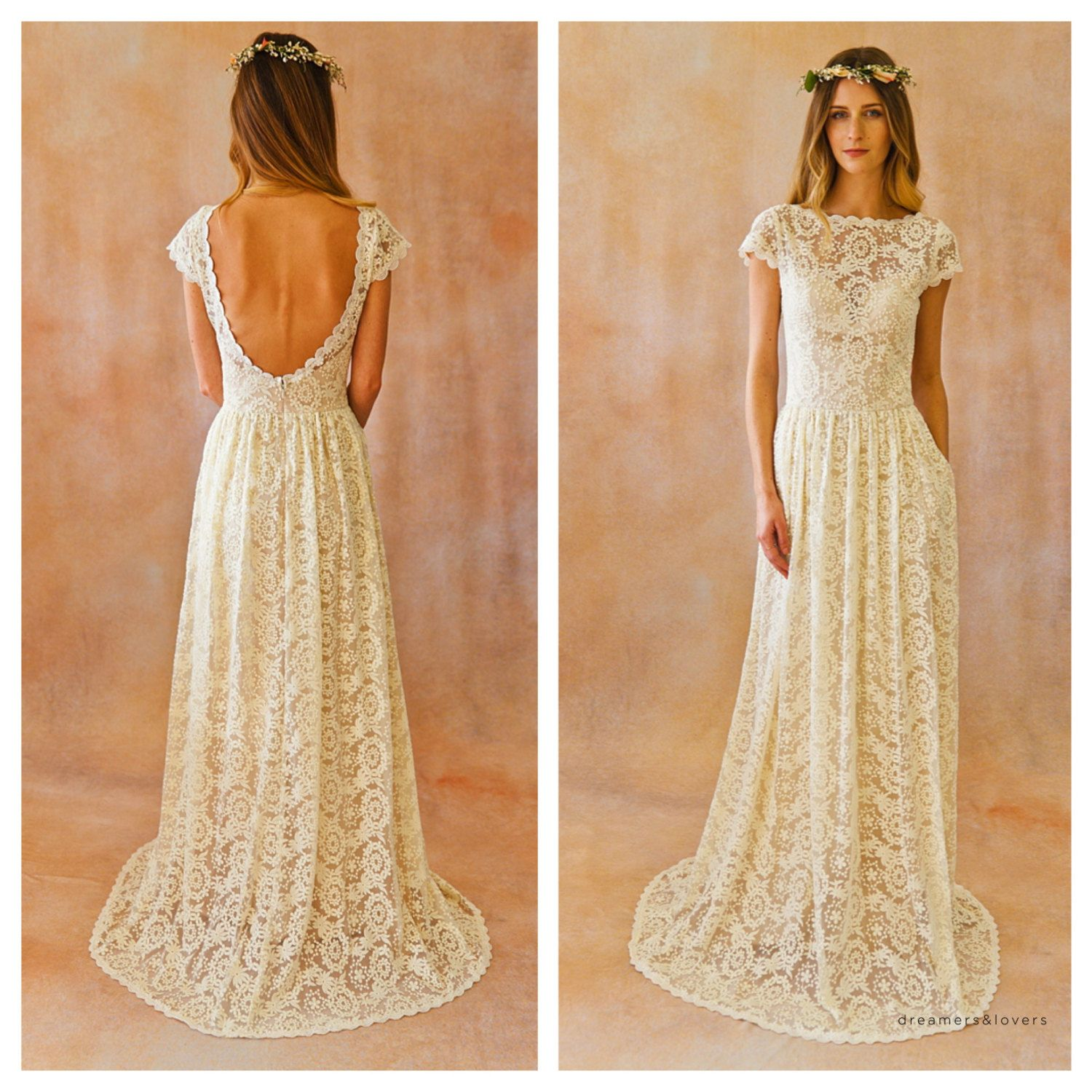 Ivory or White Lace Bohemian BACKLESS WEDDING GOWN. simple and ...