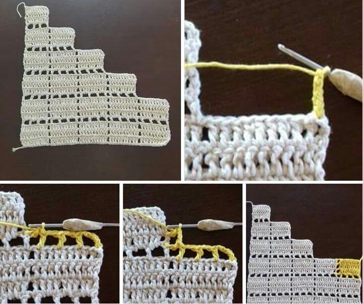 Croche com duas cores de linha