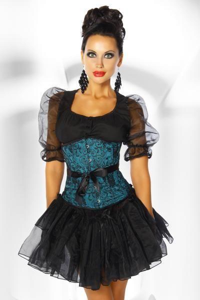 Corset verde con blonda floral negra y lazo negro. Enganches metálicos en el frontal y cordado en la espalda a juego. Aporta un aspecto con glamour a tu look.