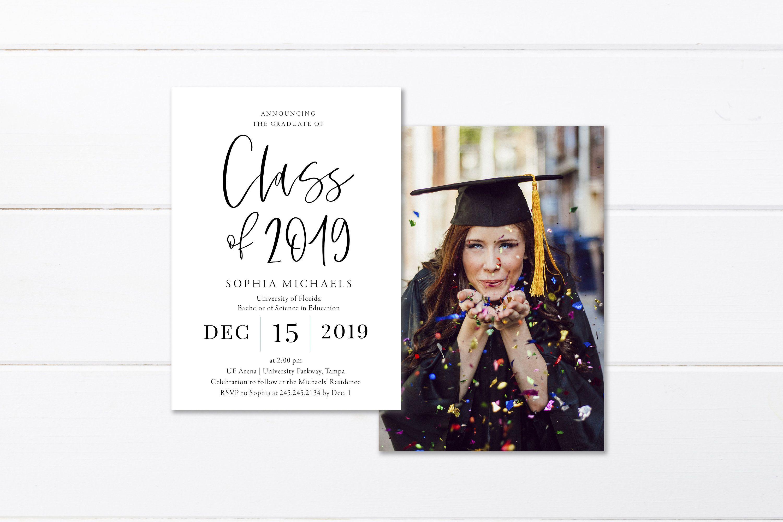 Templett Invite Editable 2019 Minimal Invite Photo Graduation Invite Editable Graduate Invitation Printable Grad Announcement Card
